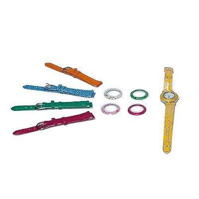 Kit Relógio Feminino Lilás com 11 Pulseiras e 11 Aros - GS746