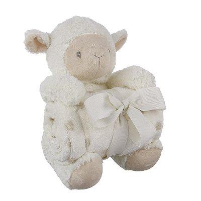 Ovelha de Pelúcia Com Cobertor Bebê 140116-2 - Shiny Love