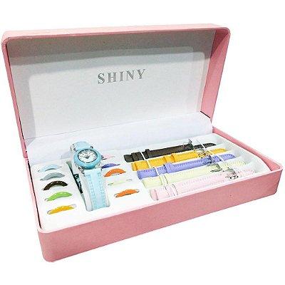 Kit Relógio Feminino Rosa 5 Pulseiras Model 6 - ShinyToys