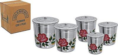 Jogo Porta Mantimentos 5 Potes Latas Alumínio 004 - Manolar