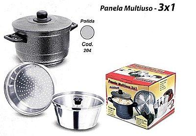 Panela Multiuso Bolo Vapor Alumínio Polido 3x1 204 - Manolar