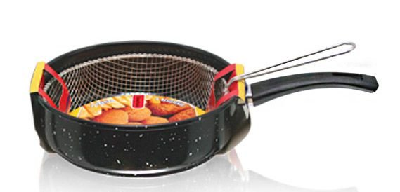 Frigideira Panela Com Tela Cesto Fritura Cozinha n° 24 - Manolar