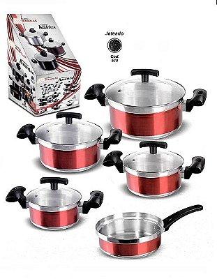 Conjunto de Panelas América Jateado Cozinha 5 peças - Manolar