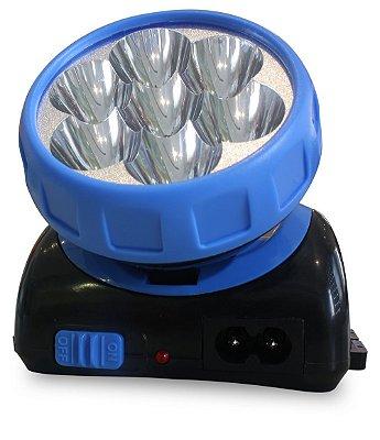 Lanterna de Cabeça 7 LEDs Sinalizador Recarregável 3584 NSBAO