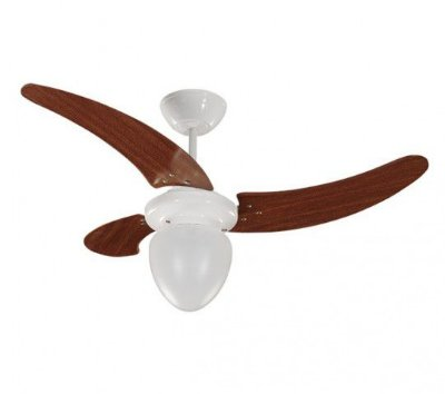 Ventilador de Teto Branco Pás Verniz 220v Buzios 3 pás 130W 01-0826 Tron
