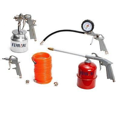 Kit Compressor de Ar Profissional Pintura 5 Pçs - RATK-A - AFC1010001 - Ferrari
