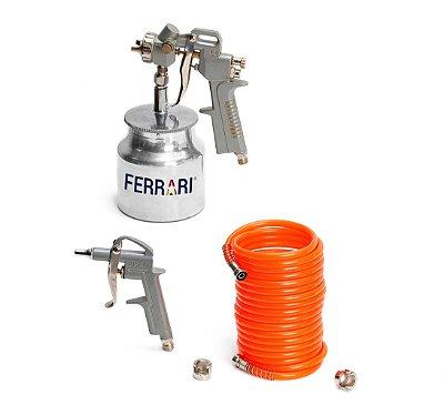 Kit Compressor de Ar Profissional Pintura 3 Pçs - AFC1010002 - Ferrari