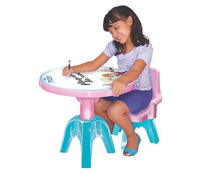 Kit Conjunto Mesa Infantil Com Cadeira Princesa Disney Frozen