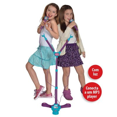 Microfone Karaoke Duplo Infantil Frozen Instrumento Musical 8165-2