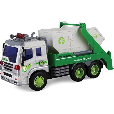 Caminhão de Entulho Brinquedo Luz Som 308S - Shiny Toys