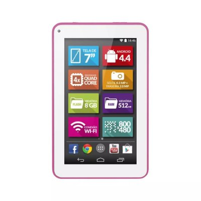 Tablet Supra Quad Core 7 Polegadas Rosa - NB201 Multilaser