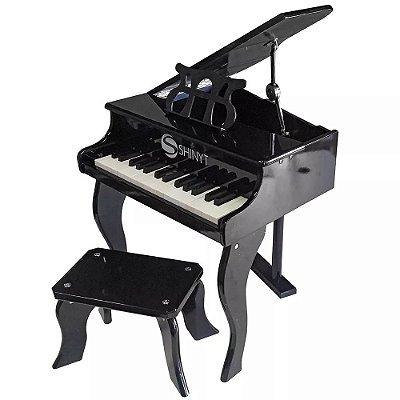 Piano Infantil Instrumento Musical Preto FW30 Shiny Music