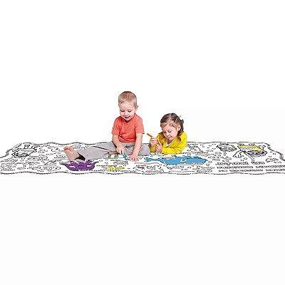 Tapete Infantil para Colorir Bilíngue com Giz e Apagador 2 Metros 8005-8 Play Doh