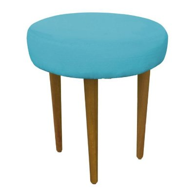 Puff Pufes Puf Retrô Suede Azul Tiffany Perna Longa Móveis