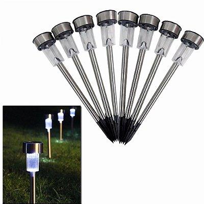 Luminária Solar De Jardim Inox Kit 8 Peças Luz Led Mainstays