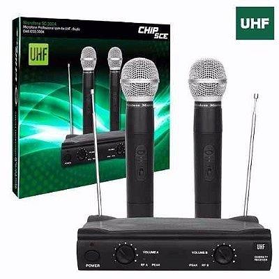 Microfone Sem Fio Duplo Som Profissional Uhf Shure Promusic