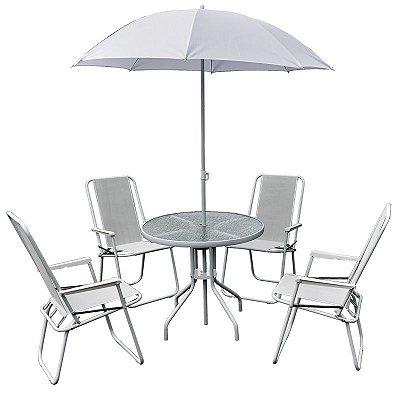 Conjunto Leblon Ombrelone Mesa 4 Cadeiras Jardim Piscina - Belfix