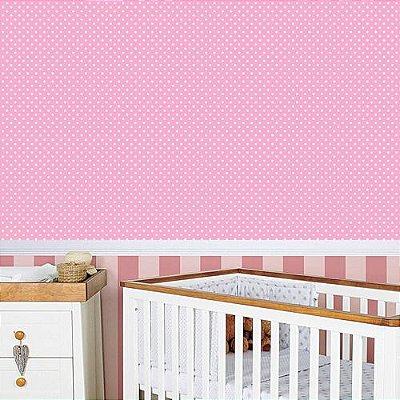 Papel de Parede Adesivo Poá Rosa-Bebê