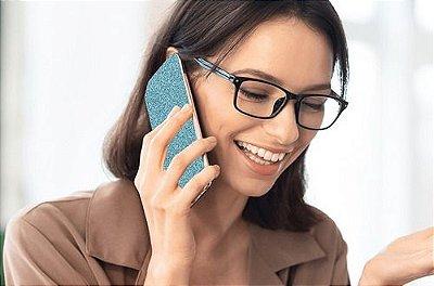 Papel De Parede Adesivo Glitter Brilhante Azul