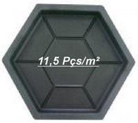 Kit Forma Plástica Sextavado Estria Bloquete 30x30x4,5cm - FP011- 10 Peças