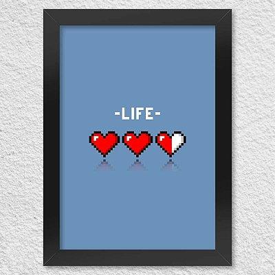 Poster com Moldura - 8 Bit Life Azul