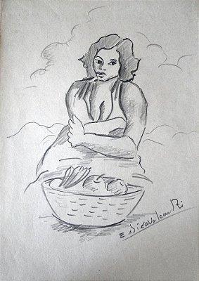 Vendedora de Frutas - Di Cavalcanti (RJ) - DFSP - 29,5 x 21 cm. - Ass.CID - (Com Certificado de Autenticidade)