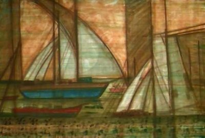 Barcas no Cais - Paulo Neves (PE) - ACSA - 100x150 cm. - No chassi - Ass.CIE