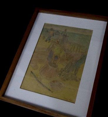 Pescadores - Percy Lau - Desenho Técnica Mista s/Papel - 28 x 20cm.