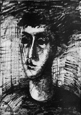 Jovem - Reynaldo Fonseca (PE) - Pincel Seco s/Papel - 64 x 45cm. - Ass. 1956
