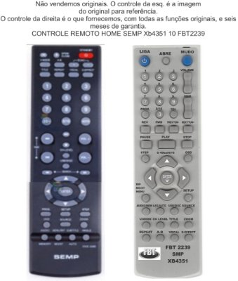 Controle Remoto Compatível SEMP XB4351 DVD3340 FBT2239