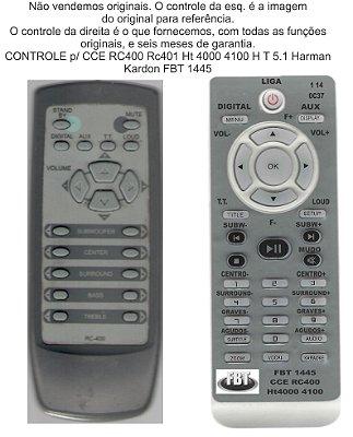 Controle Remoto Compatível CCE HARMAN HT400 RC400 401 FBT1445