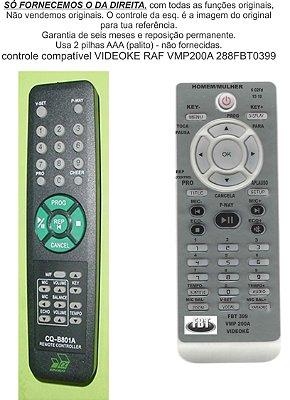 Controle Remoto Compatível RAF Videokê Vmp 200A FBT399