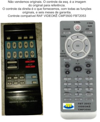 Controle Remoto Compatível RAF  KARAOKE CMP 3500 FBT2053