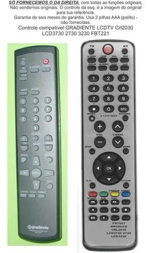Controle Remoto Compatível Gradiente LCD 3730 CRL2030 2730 3230 FBT221