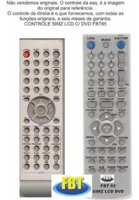 Controle Remoto Compatível Simz Lcd Tv FBT65