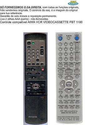 Controle Remoto Compatível ao VCR videocassette AIWA FBT1100