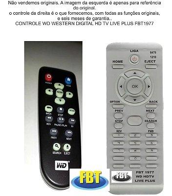 Controle Remoto Compatível - Wd Western Dig Hd Tv Live Plus FBT1977