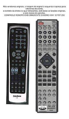 Controle Remoto Compatível - Gradiente DVD Karaokê Gradiente K341 FBT230