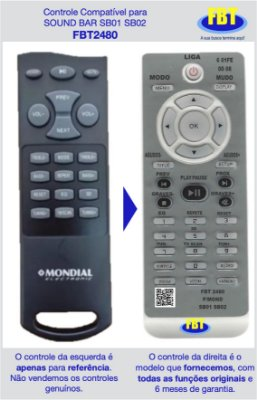 Controle Remoto Compatível - Soundbar Sb01 Sb02 - FBT2480