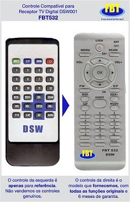 Controle Compatível Receptor TV Digital DSW DSW001 FBT532