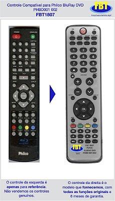 Controle Compatível para BluRay Philco PHBD001 002 FBT1807