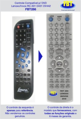 Controle Compatível p/ DVD Lenoxx/Invox RC-301 D431 DV442 FBT286