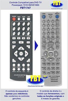 Controle Compatível para DVD TV Powerpack 7318 ISDVD1063 FBT1747