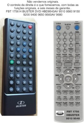 Controle Remoto Compatível - HBUSTER DVD Automotivo