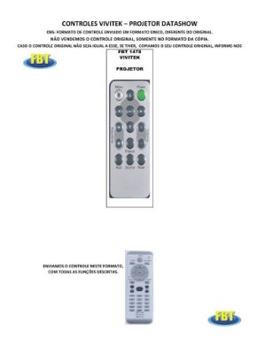 Controle Remoto Compatível - VIVITEK para Projetor