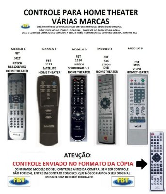 Controle Remoto Compatível - para Home THEATERS RITECH-SATELLITE-STUDII-VICINI