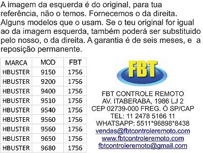 CONTROLE PARA DVD AUTOMOTIVO H-BUSTER (HBD9540 AV / 9510 / 9560 / 9150 / 9200 / 9400 / 9540 / 9650 / 9560 AV )