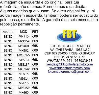 CONTROLE PROJETOR DATASHOW BENQ/SIEMENS - MP115 /115+ /515 /615P /MS513P /MS514P /MX501V /MS500+ /MS510 /MX660 /MX615 /MS614