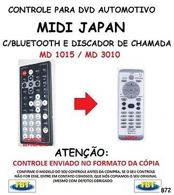 Controle Remoto Compatível - para DVD Automotivo MIDI JAPAN MD 1015 / MD 3010