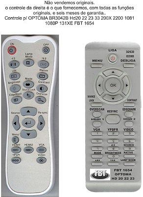CONTROLE  OPTOMA 3042B HD20 HD22 HD23 HD33 HD200X HD2200 HT1081 HD1080P HD131XE